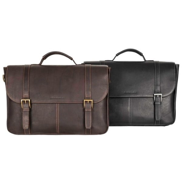 Heritage Travelware Full Grain Colombian Leather Dual Compartment Flapover 16-inch Laptop Business Briefcase