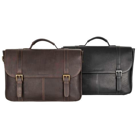 Heritage Travelware Full-Grain Colombian Leather 16-inch Laptop & Tablet Flapover Business Briefcase