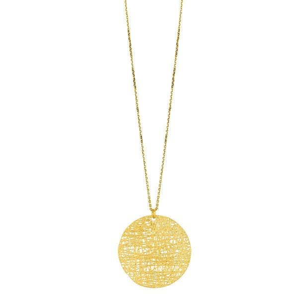 14k Yellow Gold Stilnovo Disc Pendant Necklace Free Shipping Today