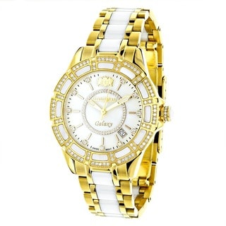 Luxurman Women's Galaxy White MOP 1.25ct Diamond Ceramic Watch
