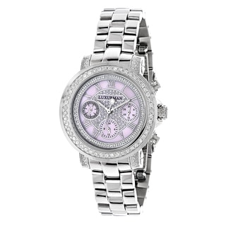 Luxurman Women's Montana Pink MOP 2ct Diamond Watch with Metal Band and Extra Leather Straps