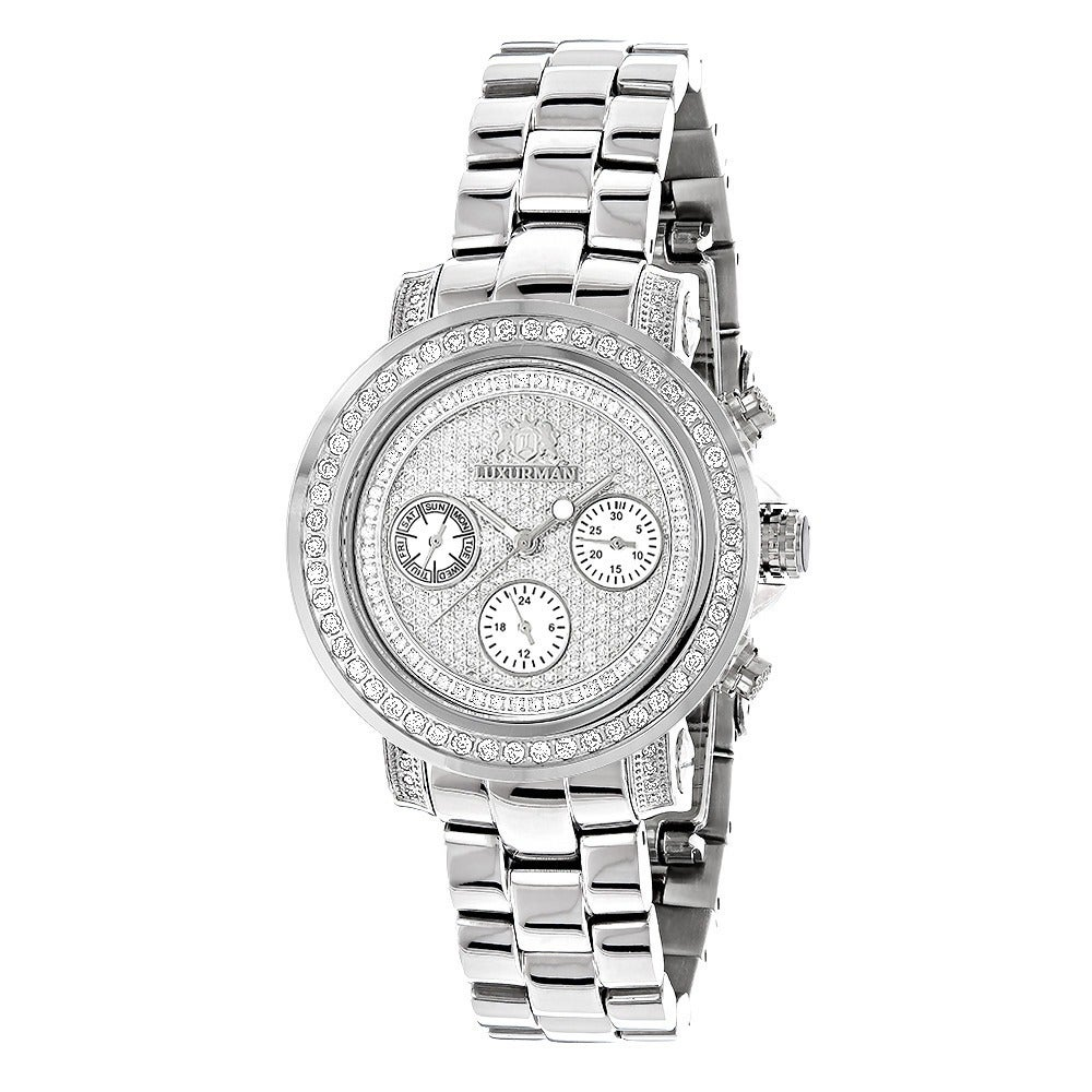 19956c669f42 Details about Luxurman Women s Montana Iced Out 2ct Diamond Watch with  Metal Band and Extra