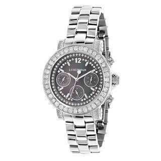 Luxurman Women's Montana Black MOP 3ct Diamond Watch with Metal Band and Extra Leather Straps