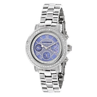 Luxurman Women's Montana Blue MOP 2ct Diamond Watch with Metal Band and Extra Leather Straps