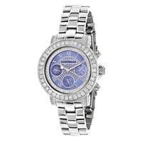 Luxurman Women's Blue MOP Montana 3ct Diamond Watch with Metal Band and Extra Leather Straps