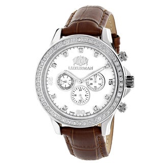 Luxurman Men's Liberty White MOP 2ct Diamond Watch with Metal Band and Extra Leather Straps