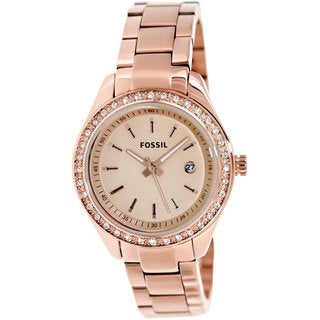 Fossil Women's ES3196 Stella Mini Three Hand Stainless Steel Rose Watch