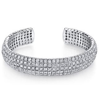 18k White Gold 15ct TDW Pave Diamond Cuff Bracelet (G-H, SI2)