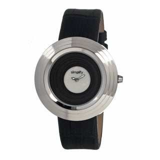 Simplify Women's The 1700 White Leather Black Analog Watch