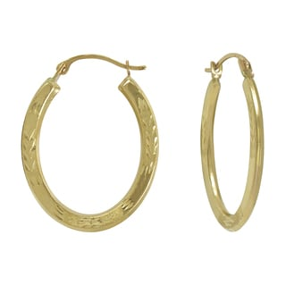 14k Yellow Gold Diamond-cut/ Matte Oval Hoop Earring