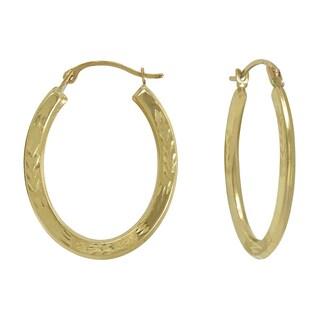 14k Yellow Gold Diamond-cut/ Matte Oval Hoop Earring