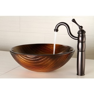 Amber Bronze Glass Vessel Bathroom Sink