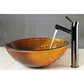 Copper Amber Glass Vessel Bathroom Sink