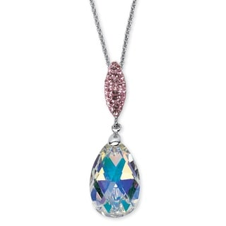 PalmBeach Pear-Cut Aurora Borealis Crystal Pendant Necklace Made with SWAROVSKI ELEMENTS in Silvertone Color Fun