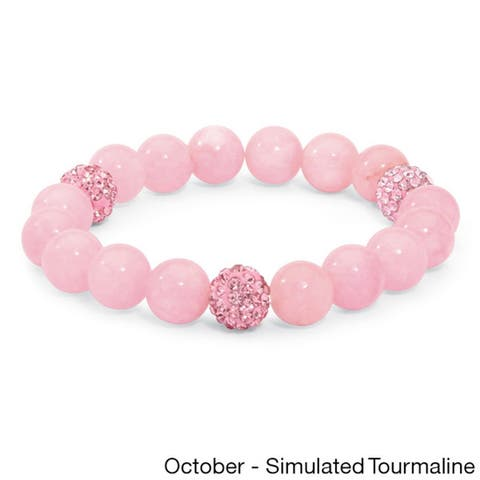 Agate and Crystal Accent Bead Stretch Bracelet (8-inch)