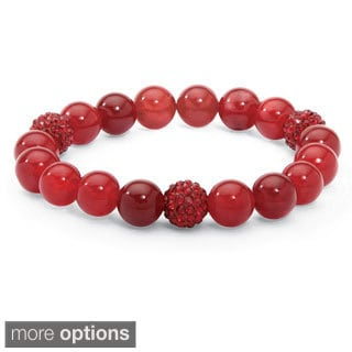 PalmBeach Agate and Crystal Accent Bead Stretch Bracelet (8-inch)