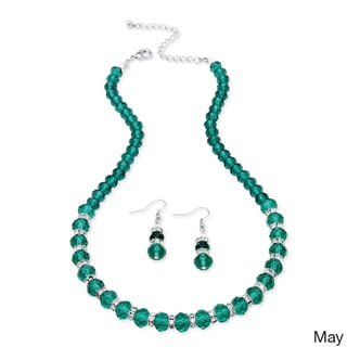 Beaded Birthstone Necklace and Earrings Set in Silvertone Color Fun