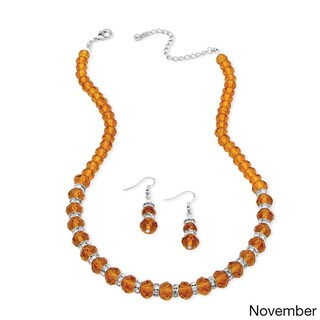 Beaded Birthstone Necklace and Earrings Set in Silvertone Color Fun (More options available)