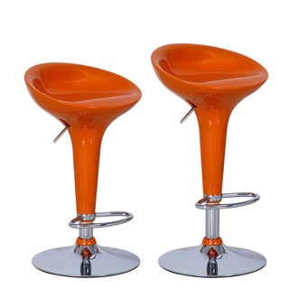 Adeco Orange Adjustable Chrome Barstools (Set of 2)