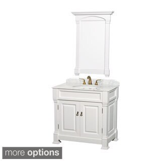 Wyndham Collection Andover Single 36-inch White Bathroom Vanity and Mirror