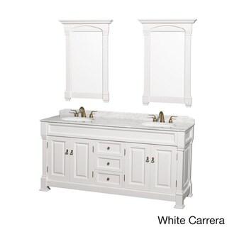 Wyndham Andover 72-inch White Double-sink Bathroom Vanity and Mirror Set