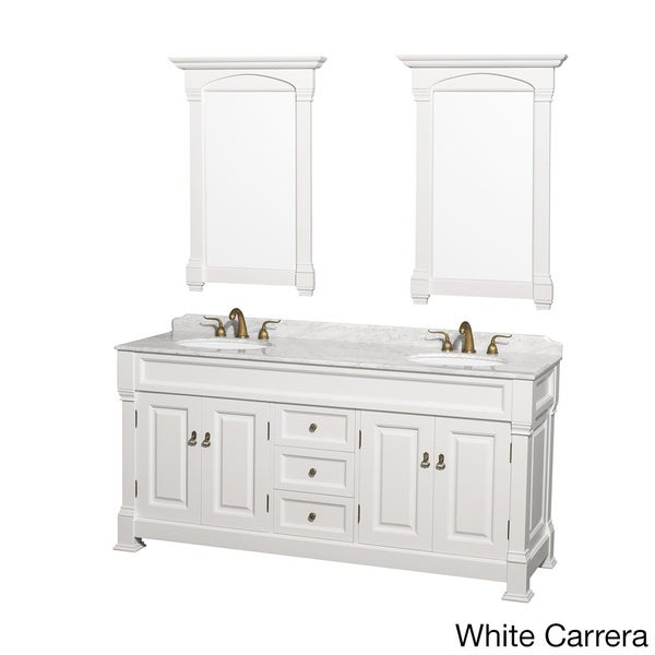 Wyndham Andover 72 Inch White Double Sink Bathroom Vanity