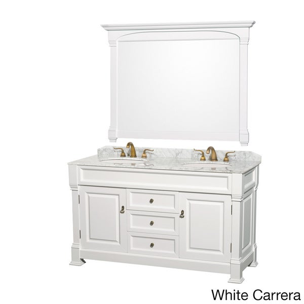 Wyndham Collection Andover 60-inch White Double-sink Vanity and Mirror Set