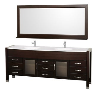 Wyndham Collection Daytona Espresso 78-inch Double-sink Vanity and Mirror