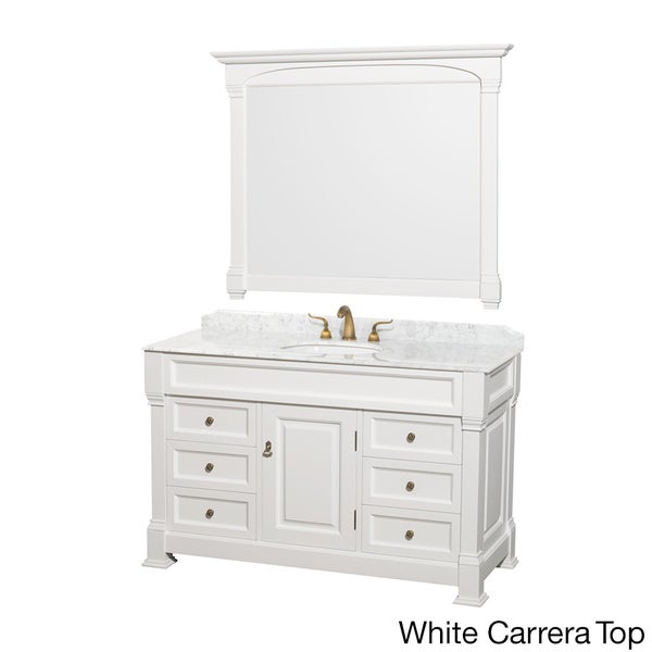 wyndham collection andover single 55 inch white bathroom vanity and mirror set free shipping. Black Bedroom Furniture Sets. Home Design Ideas
