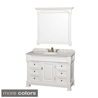 Wyndham Collection Andover Single 48-inch White Bathroom Vanity and Mirror
