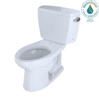 Toto Eco Drake Two-Piece Elongated 1.28 GPF Toilet with Right-Hand Trip Lever, Cotton White (CST744ER#01)