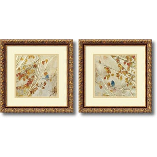 Asia Jensen 'Singing, gold frame- set of 2' Framed Art Print 14 x 14-inch Each