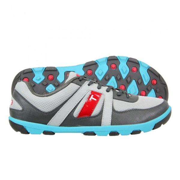 87d36ffbed4 Shop True Linkswear Men s True Sensei Grey-Charcoal-Electric Blue Golf Shoes  - Free Shipping Today - Overstock - 9183101