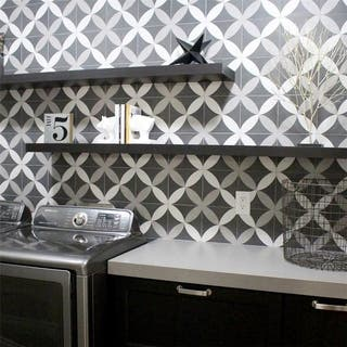 black and white tile floor. SomerTile 7 75x7 75 inch Thirties Petal Ceramic Floor and Wall Tile  Case For Less Overstock com
