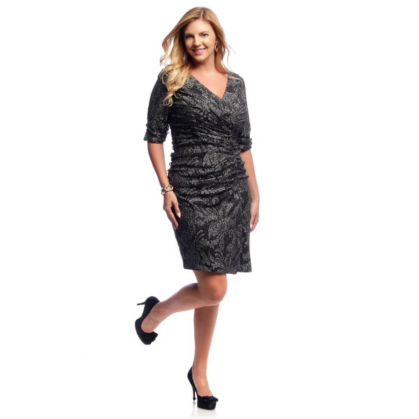 Shop Alex Evenings Womens Plus Size Black And Silver Ruched
