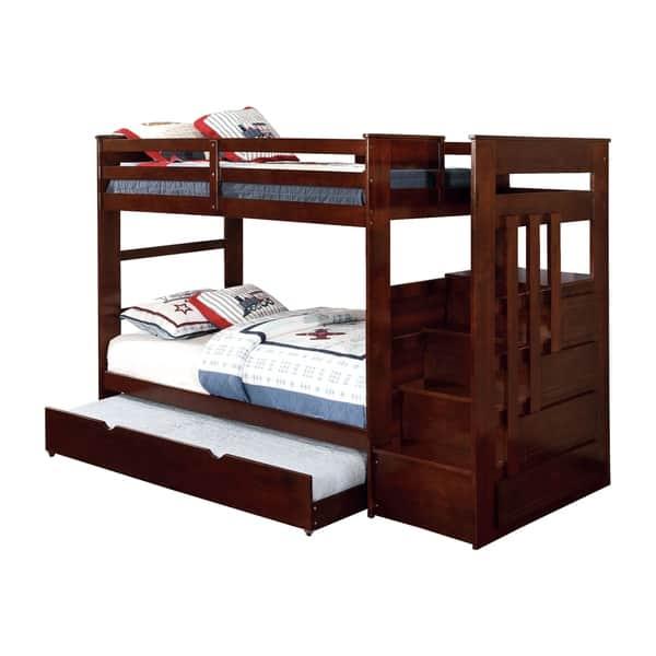 Furniture of America Bred Modern Walnut 2-piece Bunk Bed w/ Trundle Set