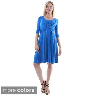 24/7 Comfort Apparel Women's Twist-front Knee-length Dress|https://ak1.ostkcdn.com/images/products/9183154/P16357642.jpg?impolicy=medium