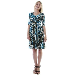 24/7 Comfort Apparel Women's Abstract Print Twist-front Knee-length Dress