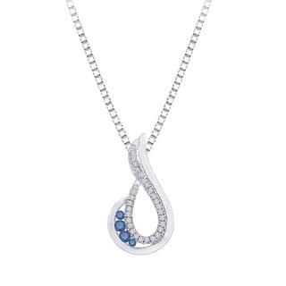 10k White Gold 1/3ct Blue Diamond Teardrop Necklace