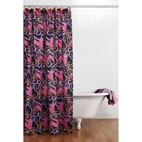 Sassy Shaylee Black Shower Curtain with Hooks