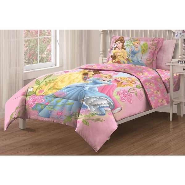 Disney princess royal gardens twin size 3 piece comforter set free shipping today overstock - Twin size princess bed set ...