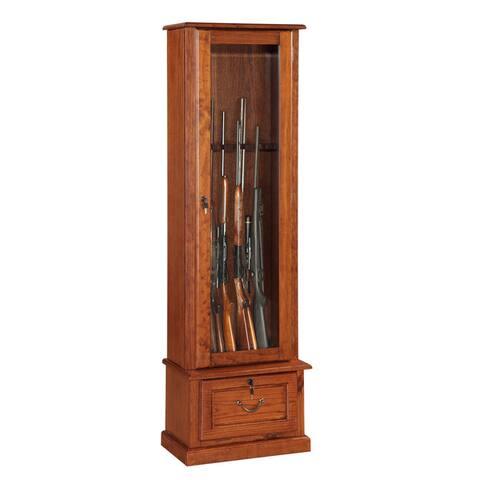Wood and Glass Door, Locking, Eight Gun Display Cabinet