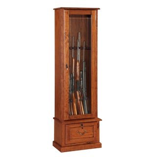 Wood and Glass Door, Locking, Eight Gun Display Cabinet