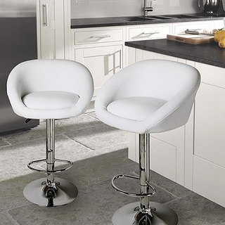 Adeco Low Wrap Back Adjustable Hydraulic Lift White Barstool with Chrome Pedestal Base (Set of 2)