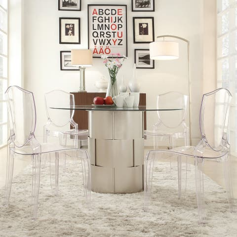 Elbridge Woven Drum Glass Dining Table by iNSPIRE Q Bold - Silver