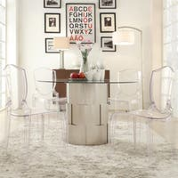 Elbridge Woven Drum Glass Dining Table by iNSPIRE Q Bold