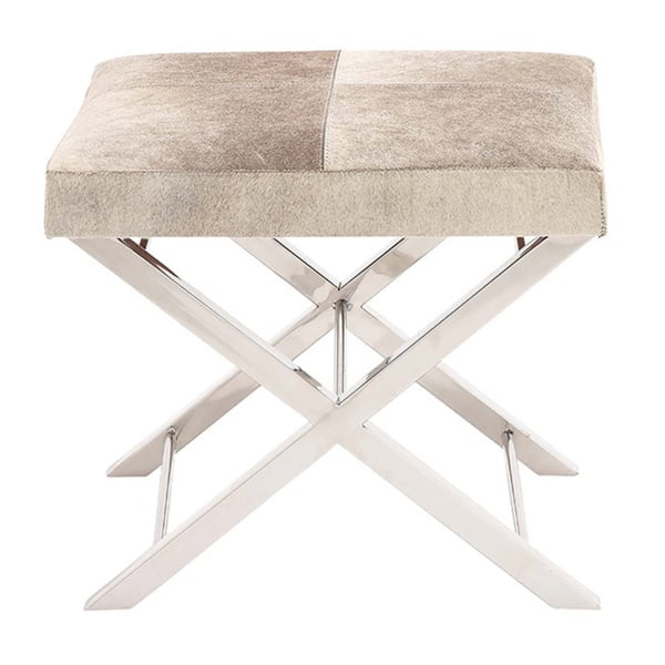 Fine Shop Modern Steel And Cowhide Leather Ottoman Vanity Stool Alphanode Cool Chair Designs And Ideas Alphanodeonline