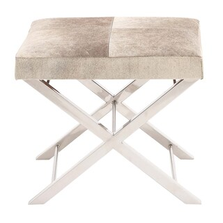 Modern Steel and Cowhide Leather Ottoman