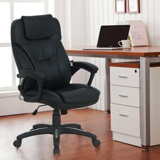 Adeco Black Deluxe Faux Leather Support Office Chair with Padded Arm Rests and Rolling Base