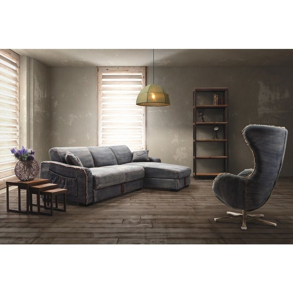 Shop Zuo Brand Blue Denim Sectional Sofa Free Shipping